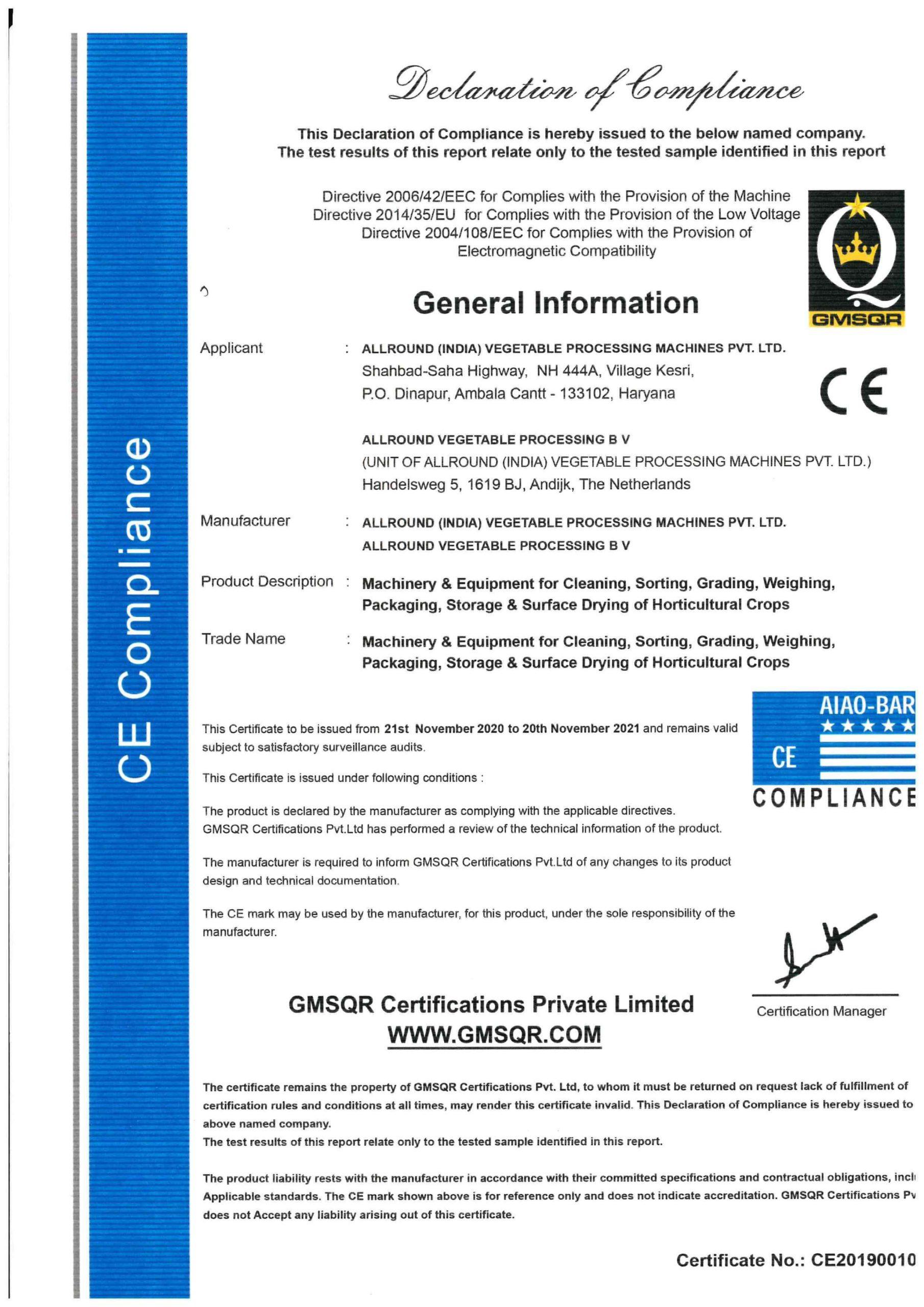 CE Zertifikate